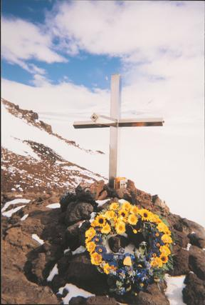 The wreath placed at the Erebus memorial cross for the 20th anniversary commemoration.