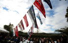 060814. Photo Diego Opatowski / RNZ. Flags of the diffrent river subtribes in Ranana Marae.
