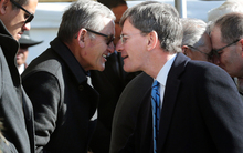 Maori King Tuheitia having a hongi with Minister Chris Finlayson.
