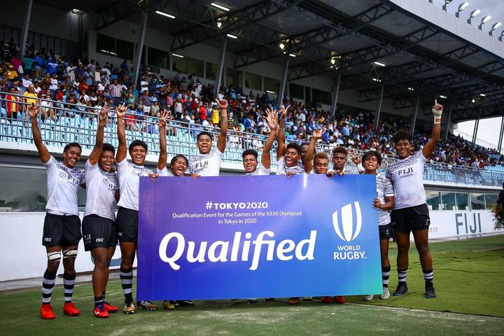 The Fiji women's sevens team celebrate qualifying for the Tokyo 2020 Olympics.