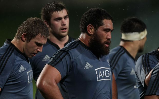 New Zealand's Charlie Faumuina waits for a scrum against Northland in the Game of Three Halves, North Harbour Stadium, Auckland, New Zealand, Friday, August 08, 2014.