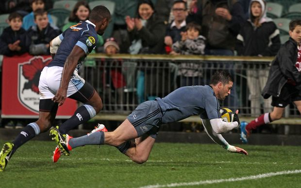 New Zealand's Cory Jane touches down a try against Northland in the Game of Three Halves, North Harbour Stadium, Auckland, New Zealand, Friday, August 08, 2014.