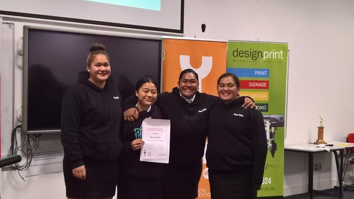 Iripareraukura Te Tai and team, winners of the Northland YES Young Enterprise Oral Business Pitch award.
