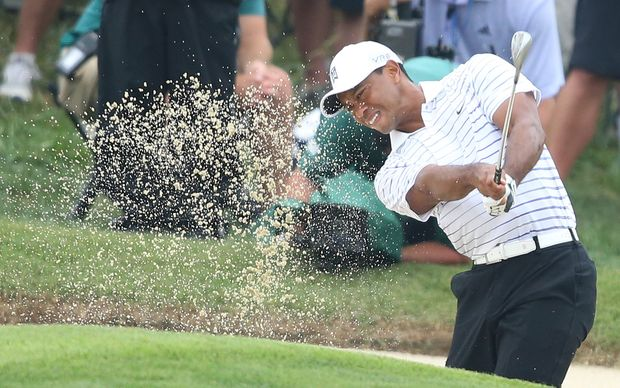 Tiger Woods on the way to missing the cut at the US PGA