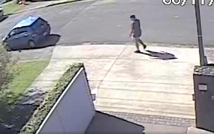 An image from CCTV footage released by police of a man they said was on Beechwood Road around the time of an assault on a woman on a walking track near Browns Bay.