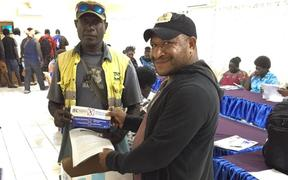Autonomous Bougainville scrutineers receive scrutineering materials for the referendum.
