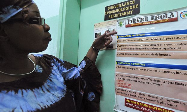 A woman reads Ebola warnings for travellers on the Ivory Coast  as the WHO declares the killer virus  an international health emergency.