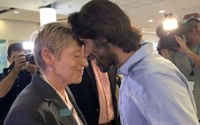 Christchurch mayor Lianne Dalziel and refugee journalist Behrouz Boochani hongi after his arrival in Christchurch.