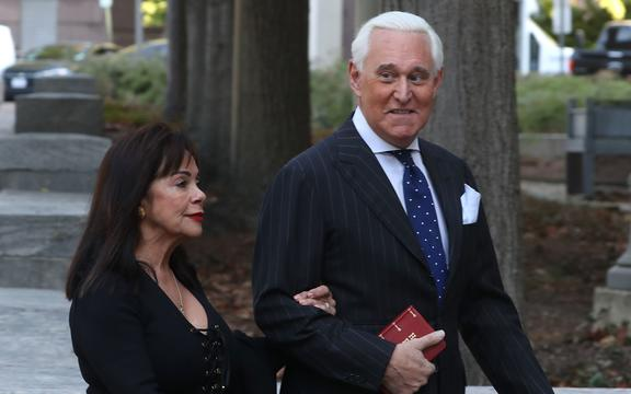 WASHINGTON, DC - NOVEMBER 15: Roger Stone, former advisor to President Donald Trump, and his wife Nydia Stone arrive at the E. Barrett Prettyman United States Courthouse, on November 15, 2019 in Washington, DC.