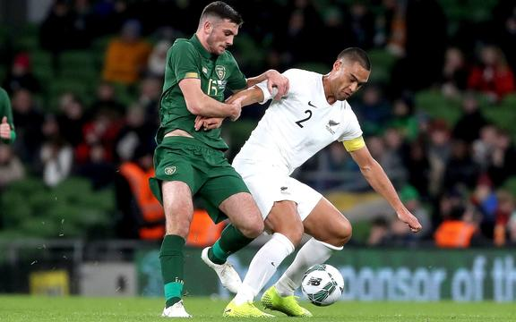 All Whites captain Winston Reid and Troy Parrott of Ireland