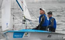 Jo Aleh and Polly Powrie sail to gold in the 470 at the Olympic Test event in Rio, 2014.