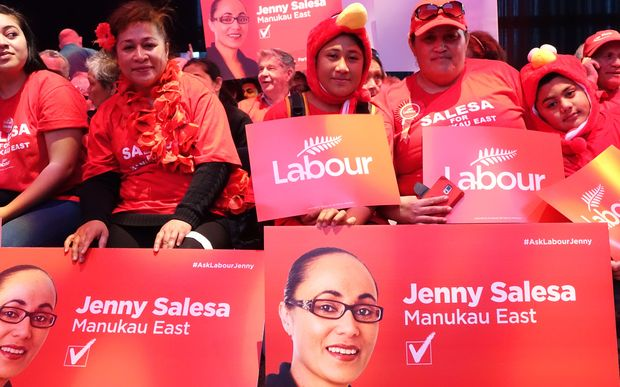 People gathered before the start of Labour's 2014 campaign launch at Auckland's Viaduct Events Centre.