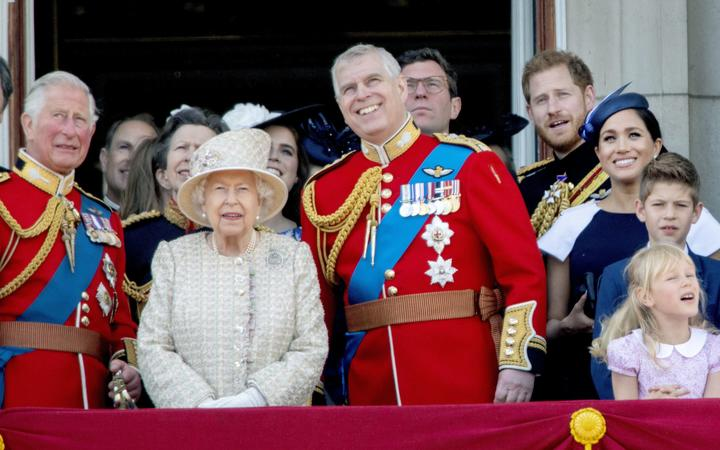 Queen Elizabeth II,  Prince Charles Prince Harry and Meghan, Duchess of Sussex Prince Andrew, Duke of Yorkat the balcony of Buckingham Palace in London, on June 08, 2019, after attending Trooping the Colour at the Horse Guards Parade, the Queens birthday parade|