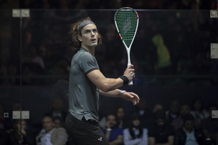 Paul Coll, from New Zealand plays in the CIB Egyptian Squash Open 2019 in Cairo.