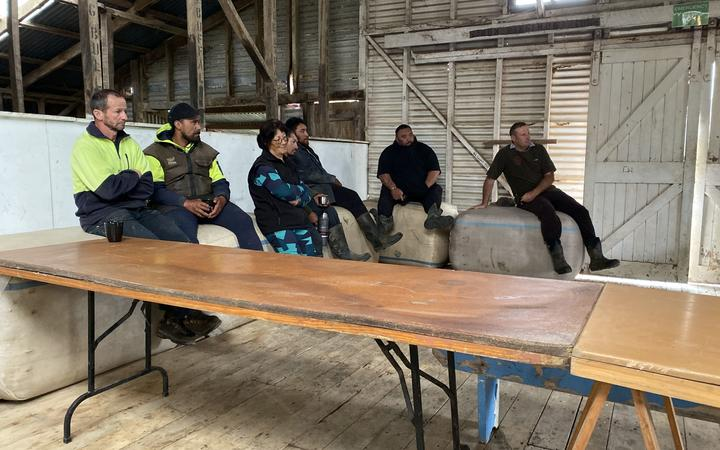 A dozen or so farmers attended a meeting with the council in a woolshed just past the slip on Monday.