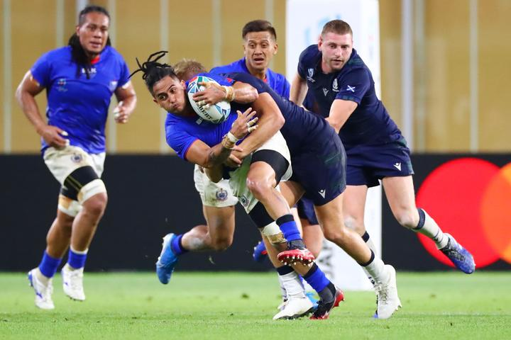 Melani Matavao playing for Manu Samoa at  the 2019 Rugby World Cup.