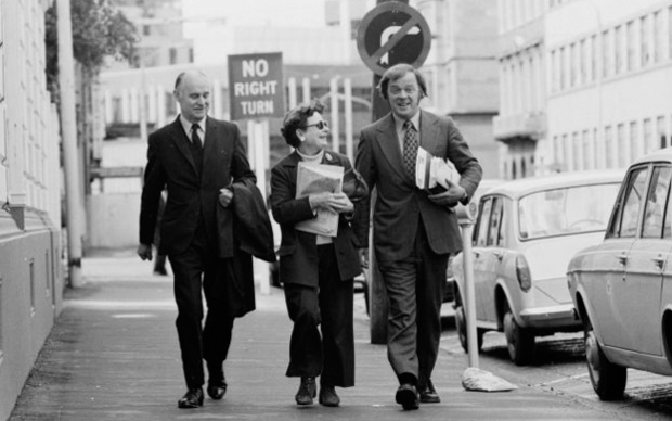 Bill Sutch (left) arriving at Wellington Magistrate's Court with wife Shirley Smith and lawyer  Mike Bungay in October 1974.