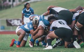 Samoa and Fiji women pack a scrum in the Oceania Championship