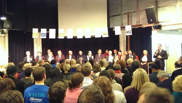 Helensville and Tai Tokerau Candidates line up on stage at Kumeu bapist church for debate