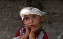 An Iraqi Yazidi child at a makeshift shelter in the Kurdish city of Dohuk.