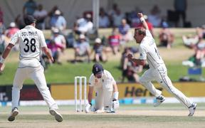 New Zealand's Neil Wagner celebrates the wicket of England's Ollie Pope during the fifth day of the first cricket Test between England and New Zealand at Bay Oval in Mount Maunganui.