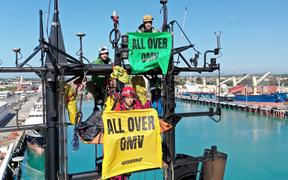 Protesters on board the Skandi Atlantic henchboat in Timaru.