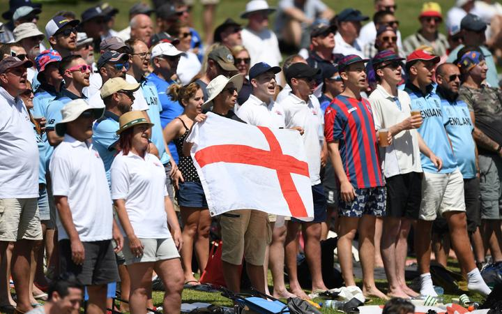 The Barmy Army during the first Test between New Zealand and England at Bay  Oval in Mount Maunganui, November 2019.