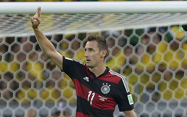 Germany's Miroslav Klose during the FIFA World Cup semi-final against Brazil in Brazil. 2014.