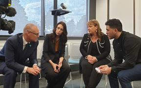 Health Minister David Clark and Prime Minister Jacinda Ardern at the opening of the Suicide Prevention Office