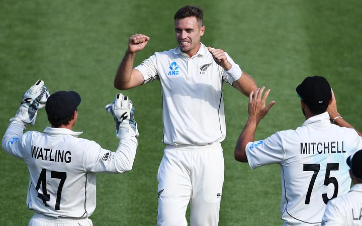 Tim Southee celebrates the wicket of Sibley on Day 2. 2nd Test match. New Zealand Black Caps v England. International Cricket at Seddon Park, Hamilton, New Zealand. Saturday 30 November 2019