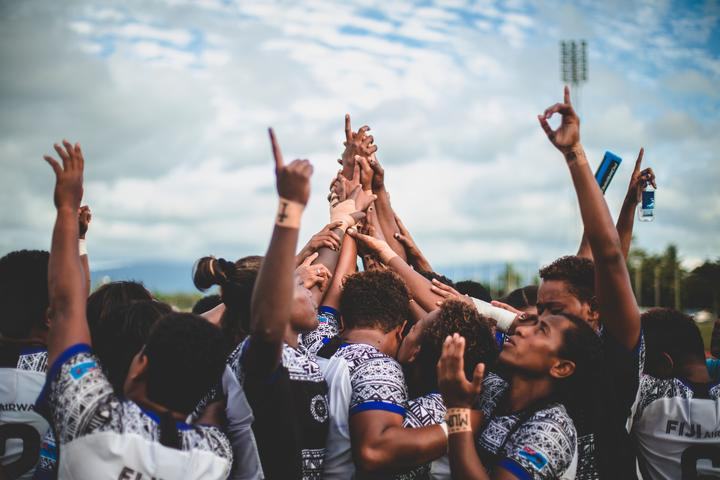 The Fijiana celebrate qualifying for their first ever Rugby World Cup.
