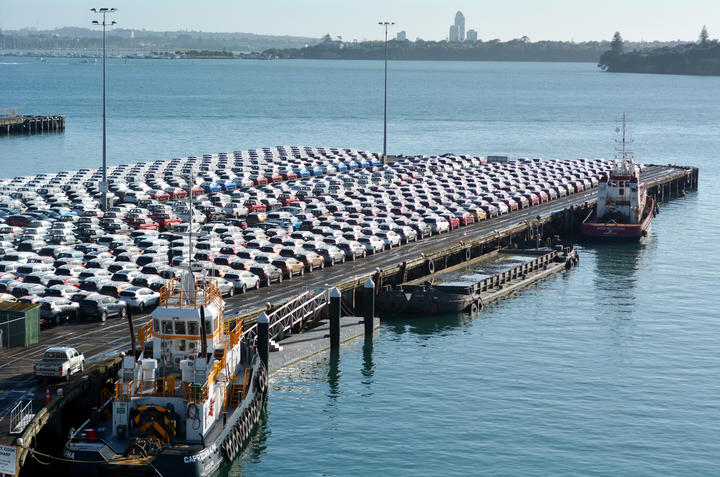 AUCKLAND - MAY 22 2016:May new cars on Captain Cook Wharf in Ports of Auckland.In 2012, New Zealand imported 173,000 motor vehicles, mainly from Japan