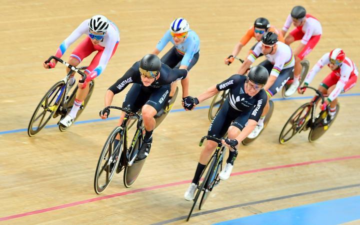 Campbell Stewart & Tom Sexton on their way to claiming silver in the men's madison at the World Cup in Hong Kong.