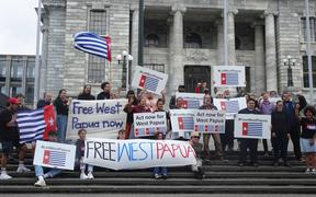 Free West Papua activists at parliament, 2-12-19.