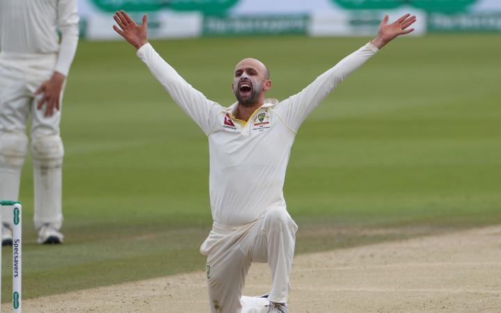 Australian cricketer Nathan Lyon appeals in vain