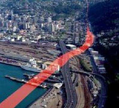 The Wellington Fault runs through the central city.