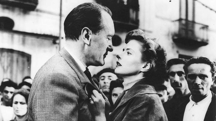 George Sanders and Ingrid Bergman in an iconic moment from Rosselini's Voyage to Italy (1954)