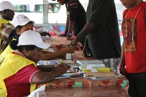 Voter's finger gets inked during polling for Bougainville's independence referendum