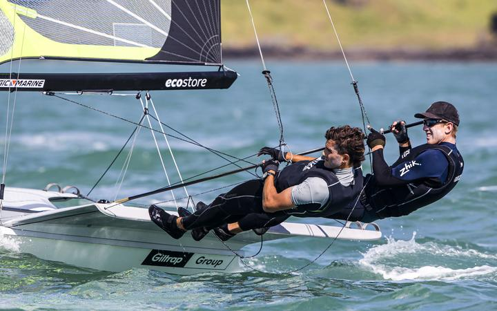 Blair Tuke and Peter Burling compete in the 49er World Champs in Auckland.