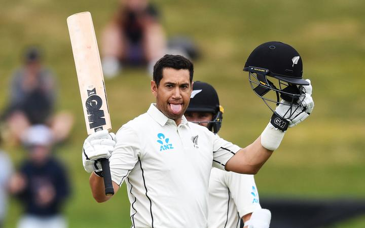 New Zealand batsman Ross Taylor celebrates his century against England.