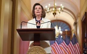 US Speaker of the House Nancy Pelosi speaks about the impeachment inquiry of US President Donald Trump at the US Capitol in Washington, DC, on December 5, 2019.