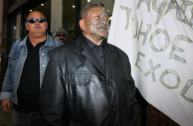 Tame Iti outside Auckland District Court in December 2007. He was sentenced to jail in 2012.