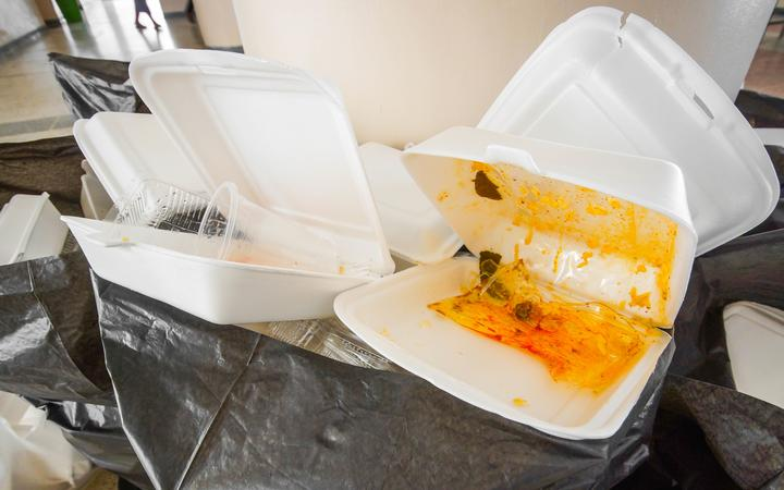 Polystyrene food containers in the bin