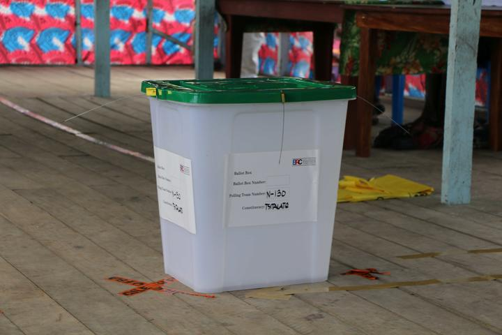 The first ballot box used in Bougainville's independence referendum, in Buka.