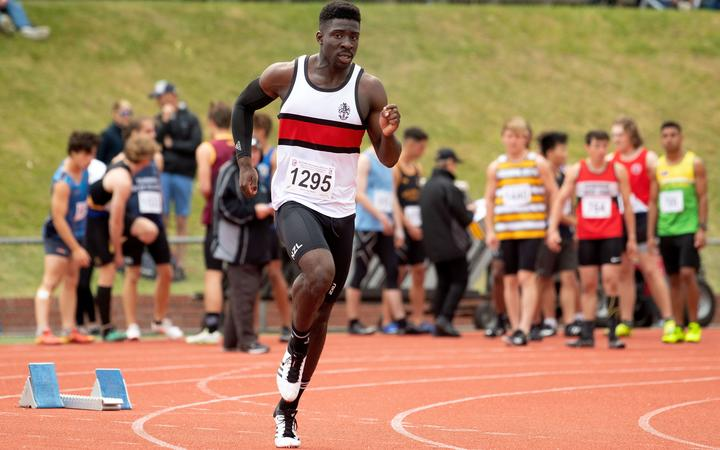 Edward Osei-Nketia from Scots College during the NZNSS athletics champs at Newtown Park in Wellington on Saturday the 7th December 2019.