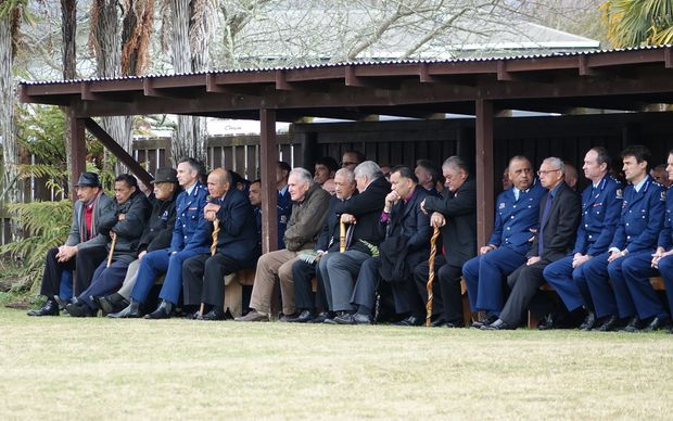 Police Commissioner Mike Bush (4th left) and kaumatua on Te Rewarewa Marae.
