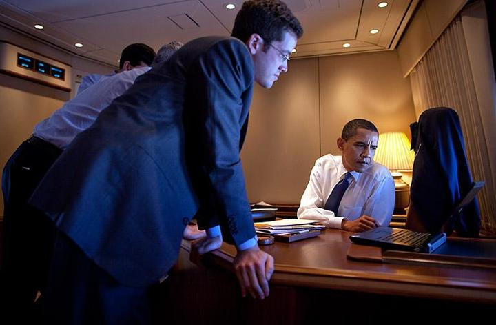 Adam Frankel with Barack Obama working on a speech