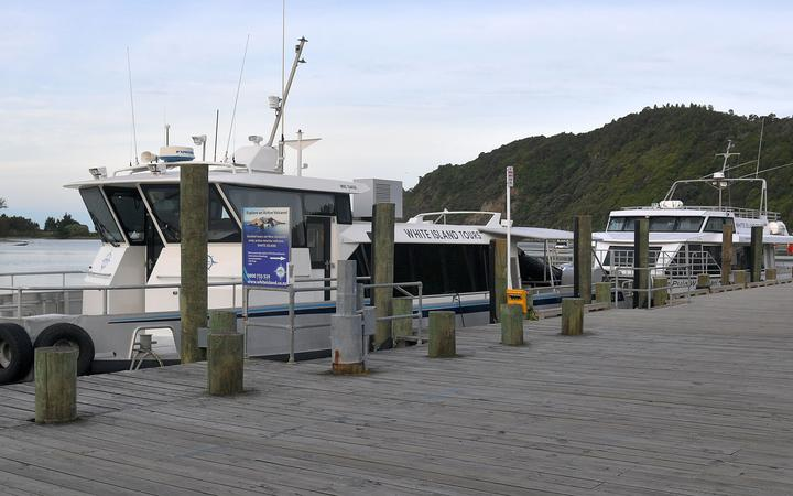 Boats belonging to White Island Tours are seen after tours were suspended in Whakatane on December 10, 2019, following the volcanic eruption on White Island the day before.
