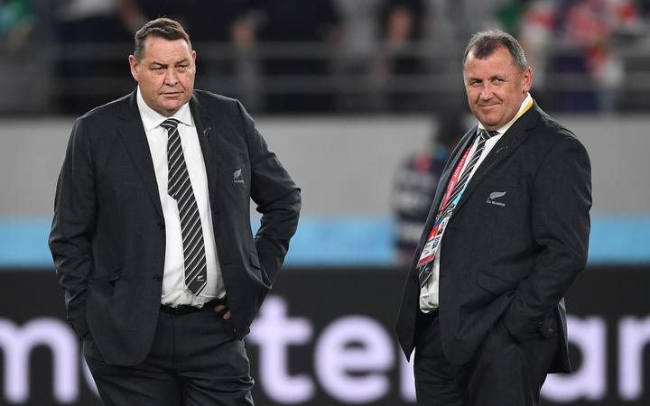 Ian Foster (right) and Steve Hansen at the RWC quarterfinal in Tokyo in October.