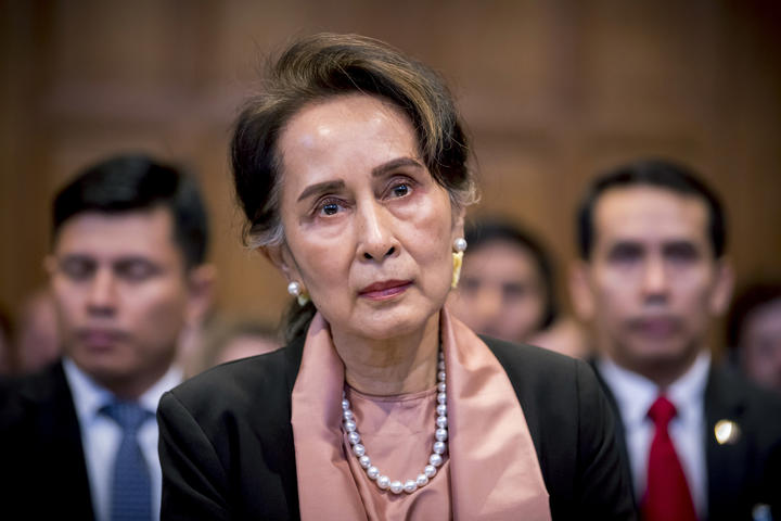 Myanmar's State Counsellor Aung San Suu Kyi attending the start of a three-day hearing on the Rohingya genocide case before the UN International Court of Justice at the Peace Palace of The Hague.